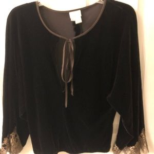 Ladies Brown Velvet and Silk Blouse